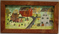 amish village scene with schoolyard by dolores hackenberger