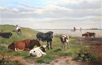 herdsman and cattle watering by an estuary by otto weber