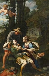 erminia findet den verletzten tancred by nicolas mignard