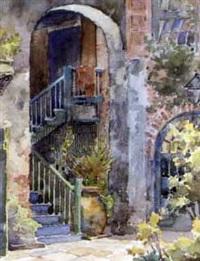 courtyard scene (+ madame john's legacy, insc.; pair) by charles oglesby longabaugh