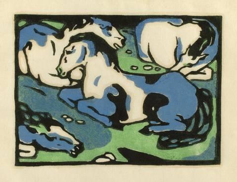 ruhende pferde by franz marc