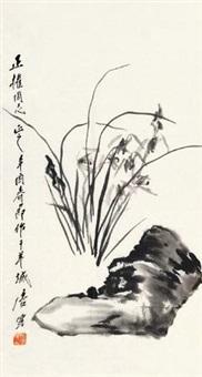 兰石图 镜片 水墨纸本 by tang yun