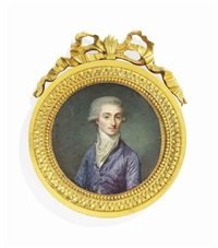 louis marie, marquis d'estourmel (1744-1823), in lilac silk coat, frilled white cravat, powdered wig worn en queue by jean baptiste jacques augustin