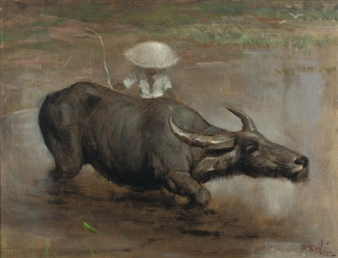 a waterbuffalo working the sawah by raden basoeki abdullah