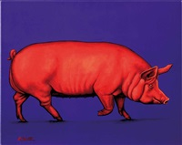 red pig on blue by helmut koller