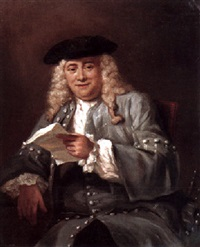 portrait of a seated gentleman holding a letter by jan maurits quinkhardt