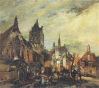 hollandsk byparti med talrige personer på et torv by johannes gysbert vogel the younger