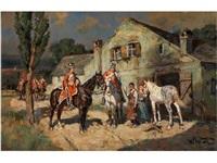 zwei husarenreiter vor einem bauernhof bei der rast by wilhelm velten