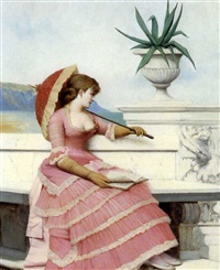 a young girl with a parasol on a marble terrace by adolphe frédéric lejeune