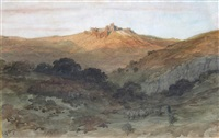 sunset on a mountain fort with sheep and shepherd in the foreground by gustave doré