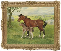 a mare and a foal, mist over the hills by charles walter simpson