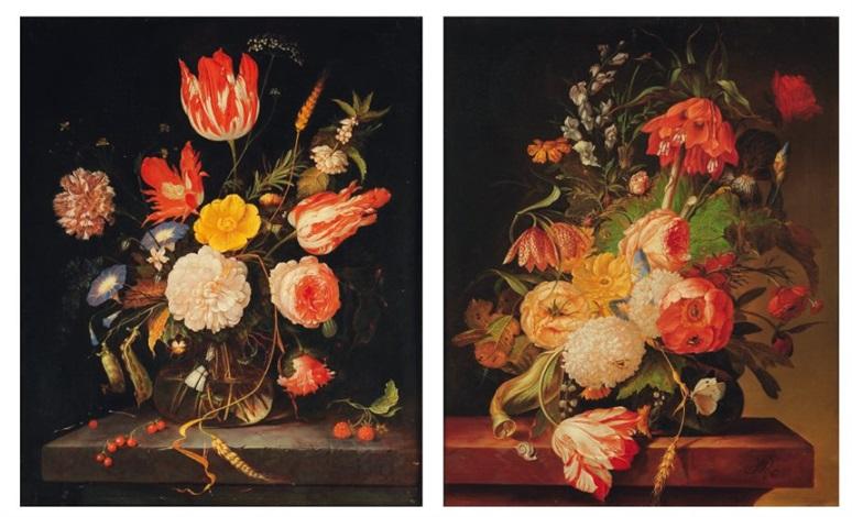 bouquet de fleurs dans un vase sur un entablement 2 works by abraham mignon