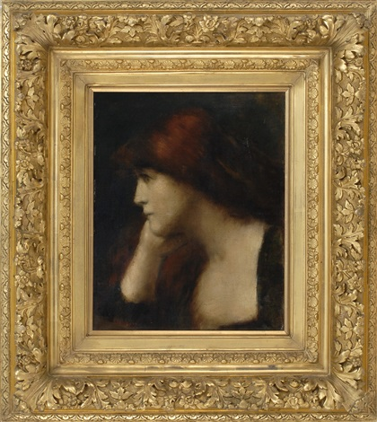 portrait of girl in a pensive pose by jean jacques henner