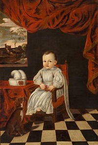a little prince or princess, in a white dress, and a dog by enrico (giovanni e.) waymer