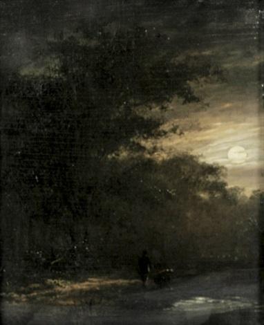 nächtliche waldlandschaft mit zwei wanderern an einem teich by andreas schelfhout