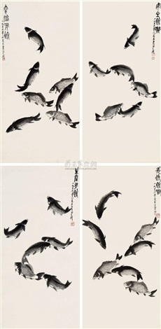 有鱼图 set of 4 by wang qingfang