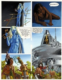 mayas, planche 57 (for métal hurlant) by jean torton
