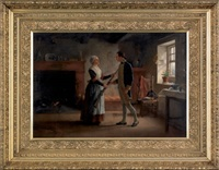 interior scene depicting a revolutionary soldier bidding farewell to his wife by jennie augusta brownscombe