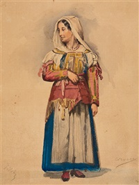 junge frau aus corvara (dolomiten) in tracht by ferdinand piloty the younger