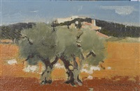 continental landscape with olive trees and sheep by michel rodde