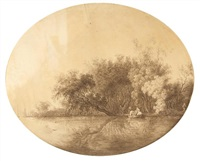 beim fischfang (+ landschaft mit einem heuwagen; 2 works) by johann gottfried abraham frenzel