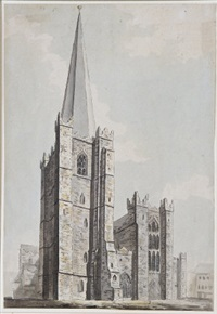 saint patrick's cathedral, dublin, from the west by james gandon