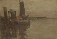 bateau de pêche accosté aux ducs d'albe by léon riket