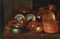 stillleben mit gefäßen aus kupfer und zwei zinntellern, natura morta con rame; by evaristo baschenis