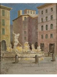 piazza mit brunnen by oreste albertini