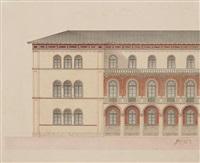 die königin therese-villa in münchen, prinz leopold-palais (+ giebelseite mit treppe, pencil; 2 works) by friedrich von gartner
