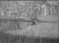 impressionist landscape with pond and buildings by vivian milner akers