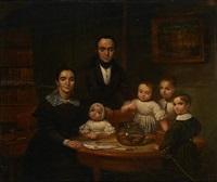 la famille réunie autour du bocal à poissons by jean baptiste van eycken