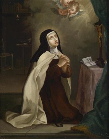 die heilige theresia von ávila im gebet in ihrer zelle vor dem kruzifix ein aufgeschlagenes buch mit ihrem motto autpari autmori by philippe de champaigne