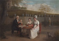 portrait of the arlaud family, seated at a table in an enclosed garden, a vineyard beyond by marc-louis arlaud