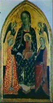madonna con bambino, angeli e due sante by mariotto di cristofano