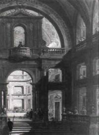 architektur: capriccio mit dem 'gastmahl des belsazar' im hintergrund by pietro francesco garoli