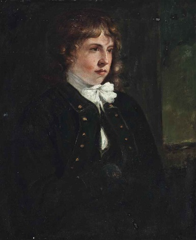 portrait of a boy half length in a dark overcoat and a white cravat at a window by john constable