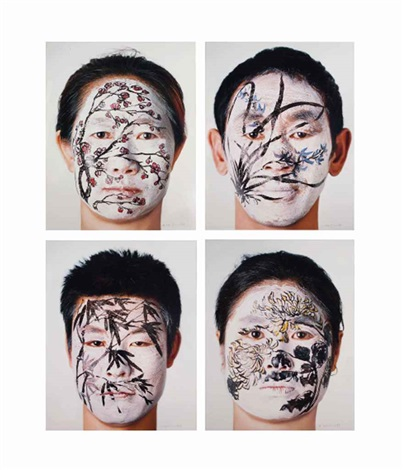 face painting plum orchid bamboo and chrysanthemum in 4 parts by huang yan
