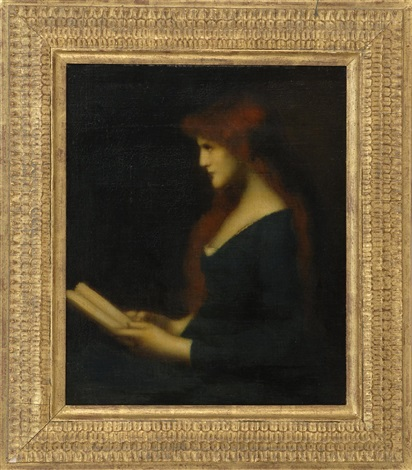 portrait of a woman reading by jean jacques henner