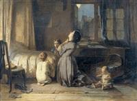 mutter mit kindern beim abendgebet by thomas edward roberts