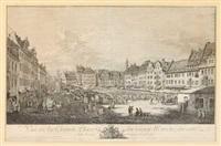 vue de la grande place du vieux marché... de la rue du château royale by bernardo bellotto