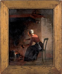 interior scene depicting a woman sitting in the glow of a hearth by enoch wood perry
