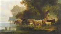 kühe und hirtin am flussufer by j. l. jean