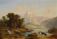 alpenlandschaft mit see und figurenstaffage by heiner baumgärtner
