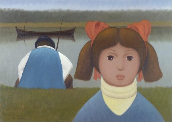bambina con pescatore by roberto masi