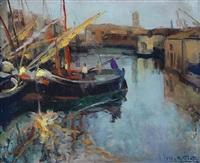 barche sul naviglio by antonio piatti