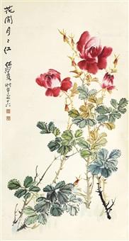 花开月月红 立轴 设色纸本 by he haixia
