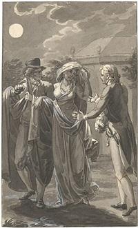 geistlicher kniet vor einer dame und küsst ihr die hand - illustrationsvorlage by eberhard wächter