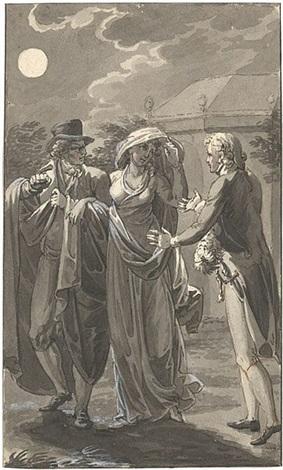 geistlicher kniet vor einer dame und küsst ihr die hand illustrationsvorlage by eberhard wächter