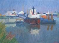 bateaux au port by françois diana